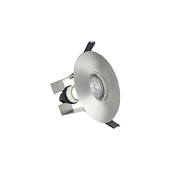 LED Fire Rated Downlight Round Insulation Guard / GU10 Holder Satin Nickel IP65