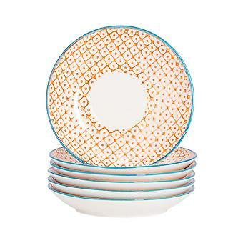 Nicola Spring 12 Piece Hand-Printed Cappuccino Saucer Set - Japanese Style Porcelain Teacup Saucers - Orange - 14.5cm