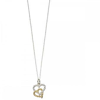 Elements Silver Yellow Gold Plate Rope Heart Pendant P4520