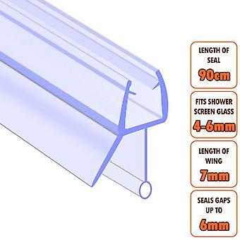 ECOSPA Bath Shower Screen Door Seal Strip - for 4-6mm Glass - Seals Gaps to 6mm