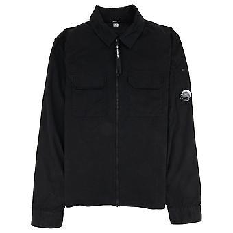 CP Company C.P. Company Garment Dyed Emerize Zipped Lens Shirt Black 999
