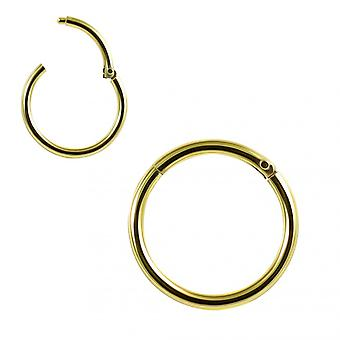 9K Solid Yellow Gold 9 mm Classic Hinged Segment Clicker Ring