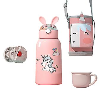Vacuum flask with cup and protective cover, children have straw kettle stainless steel