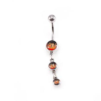 Belly button ring fire design 14g navel ring surgical steel
