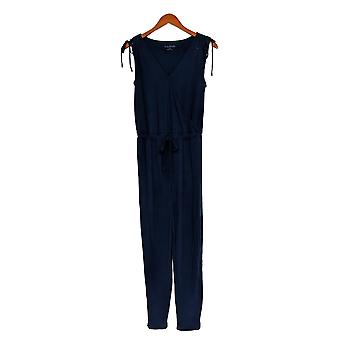 AnyBody Jumpsuits Sleeveless V Neck W/ Side Pockets Blue A377791