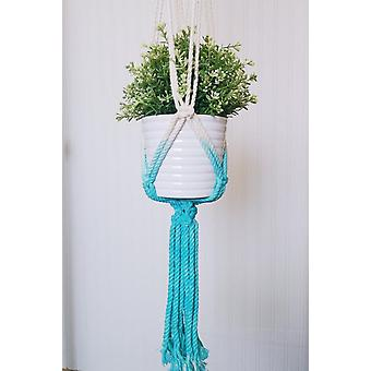 Handcrafted  Aquamarine Died Macrame Plant Hanger