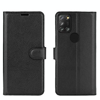 For Alcatel 3X 2020 Litchi Texture Horizontal Flip Protective Case with Holder & Card Slots & Wallet(Black)