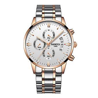 Nibosi Steel Watch for Men - Luxury Strap Anologue Movement for Men Quartz Silver