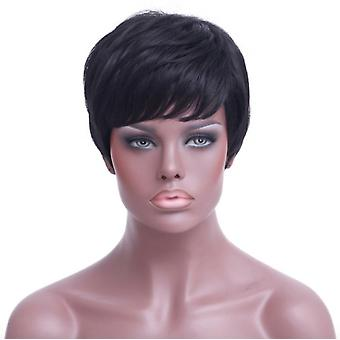 Cross-border Wig Europe And America Short Straight Hair Black Short Hair Wig High Temperature Silk Chemical Fiber Hood