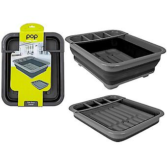 Summit Pop! Collapsible Dish Rack Drainer with Draining System - Black / Grey