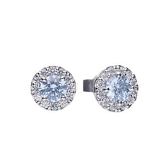 Diamonfire 925 Sterling Silver Sky Blue Round Cubic Zirconia Stud Earrings With White Stone Cluster Surround