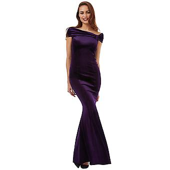 Plum bardot velvet maxi dress