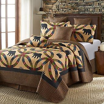 Spura Home 3-Piece Bedspread Wedding Ring Bear and Paw King Size Patchwork Quilt Set