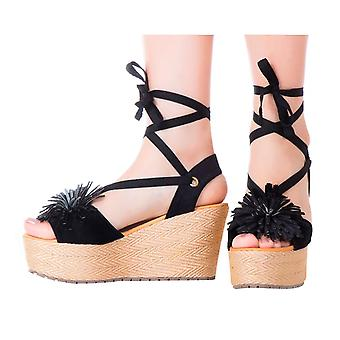 Espadrille Sandals Silvia Cobos Lace Up Black