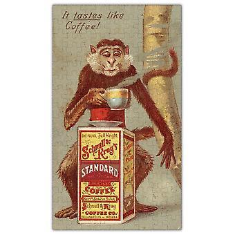 Coffee Monkey Vintage Pôster De Madeira Quebra-cabeça