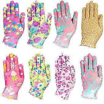 Heavy Duty Pracovní rukavice, nylonové tištěné, Pu Coated, Zahradnické rukavice,
