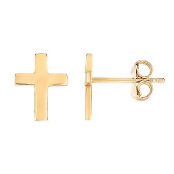 14K желтое золото крест Стад Серьги