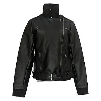 All Worthy Hunter McGrady Women's Mixed Media Faux Leather Jacket