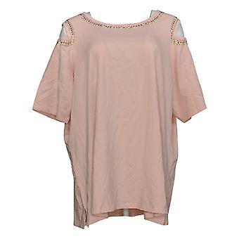 Belle van Kim Gravel Women's Plus Top Cold Shoulder met Detail Pink A305589