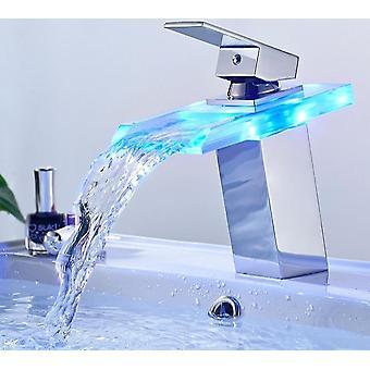 Led Basin Wasserhahn, Messing Wasserfall Temperatur Badezimmer Mixer Deck montiert waschen