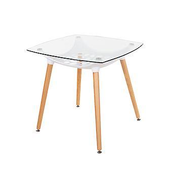 Tavolo piano in vetro trasparente quadrato penny con sottotelai in plastica bianca e gambe in legno