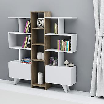 Biblioteca asrin white color, nogal melamina chipboard, L130xP22xA140.8 cm