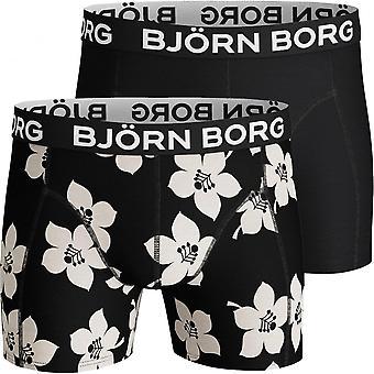 Bjorn Borg 2-Pack Floral & Solid Boxer Trunks, Black