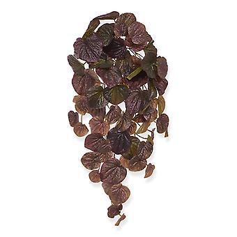 Peperomia artificiale Caperata pianta appesa 60 cm bordeaux