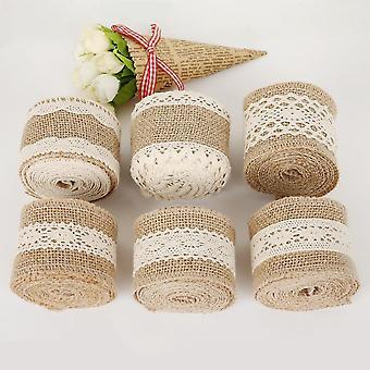 Natural Jute Burlap Ribbon Hessian Lace Jute Roll For Rustic Wedding Decoration