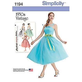 بساطة أنماط الخياطة 1194 يفتقد ملكة جمال خمر حجم اللباس 6-14 H5 يورو 32-40