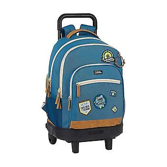 School Rucksack with Wheels Compact National Geographic Explorer Blue Brown