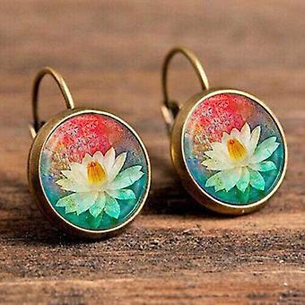 Women Vintage Jewelry Geometric Pattern Round Earrings