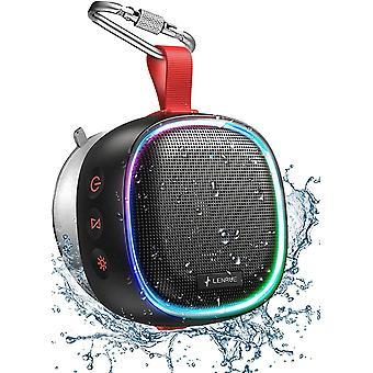 Bluetooth Lautsprecher mit RGB Licht, IPX7 Wasserdicht Kabelloser Lautsprecher Musikbox mit DSP