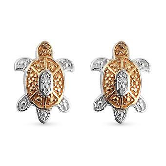 TJC White Diamond Turtle øreringe til kvinder Sterling Silver