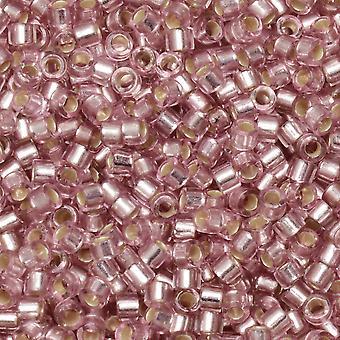 חרוזי זרעי מיוקי עדיקה, 11/0 גודל, צינור 7.2 גרם, #1434 כסף מרופד ורד חיוור