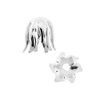 Nunn Design Bonnets de perles, Pétale recourbé 8mm, 2 Pièces, Argent Brillant
