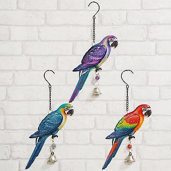 Widdop & Co. Set Of 3 Hanging Parrot Plaques With Bell Hanging Decorations Wall Art