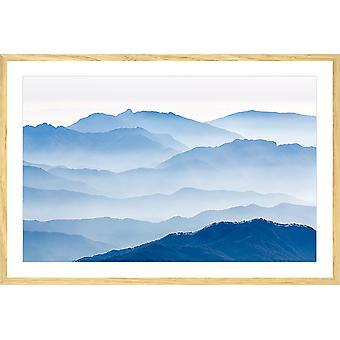 Poster landschap blauwe bergen