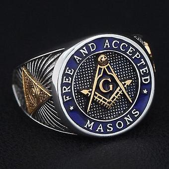 Kostenlose und akzeptierte Maurer blau Lodge Freimaurer 925 Sterling Silberring