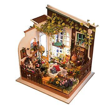Diy nukkekoti puinen miniatyyri huonekalusarja minivihreä talo led parhaat syntymäpäivälahjat