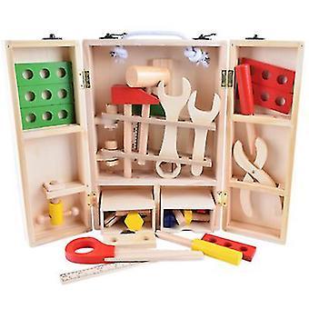 ארגז כלים מעץ רגיל עם ערכת צעצועי בניין צבעונית סימולציה diy ארגז הכלים החינוכי של הילדים צעצוע az2175
