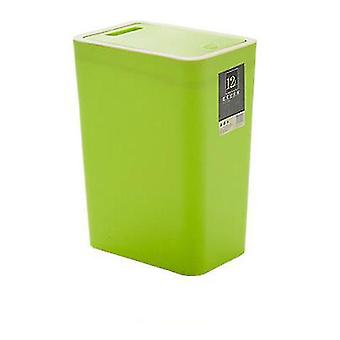 Green 12 liters sorting trash can, rectangular plastic household trash can with lid az16322