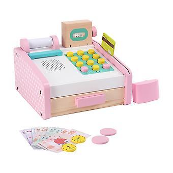 19X15cm assorted color 1 set cash register toy wooden baby role play toy simulation cash register pretend shopping set for boys girls children dt4213