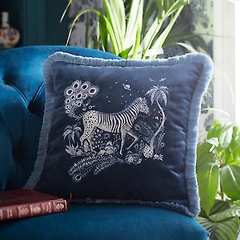 Lost World Square Cushion By Emma J Shipley In Navy Blue