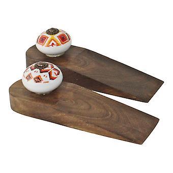 Set von 2 Kasbah Design Holz Türstopper