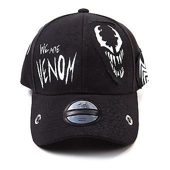 Marvel Comics Venom We Are Venom Grunge Patches Verstelbare Baseball Cap- Unisex- Zwart