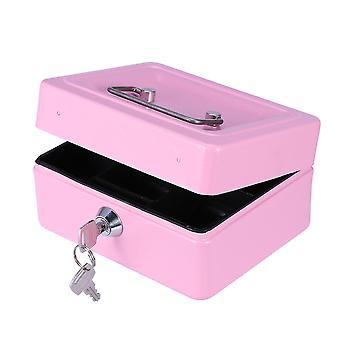 Tykkere kassa med lås og bærbar spilleautomat metall penger boks med dobbelt lag (rosa)