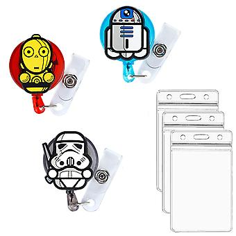 Leuyuan Retractable Reels With Id Card Holder Cases (3 Packs)