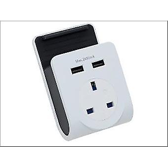Adaptor de alimentare 2 x priză încărcător USB (2.4A)
