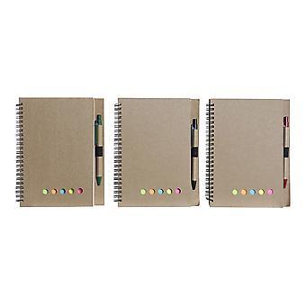 ペンDKDホームデコブラックレッドグリーン(9 x 9 x 0,5 cm)(3個)(17 x 1 x 21 cm)(14 x 1 x 1 cm)のスパイラルノート